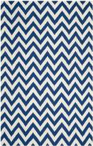 Safavieh Dhurries Collection DHU557K Hand Woven Dark Blue and Ivory Wool Area Rug, 6-Feet by 9-Feet