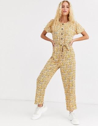 Asos Design DESIGN button front jumpsuit in vintage floral print