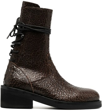 Ann Demeulemeester Cracked Lace-Up Boots