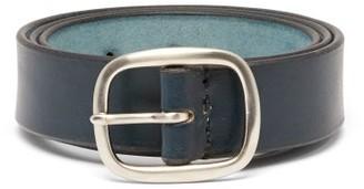 Maximum Henry - Patinated-leather Belt - Mens - Navy