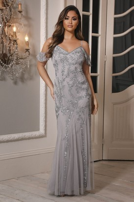 Sistaglam Mettia Silver Cold Shoulder Sequin Embellished Dress