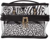 Under 1 Sky Four-Piece Train Case Cosmetics Set, Black/White