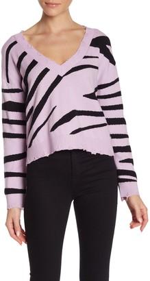 Wild Honey Zebra Distressed V-Neck Sweater