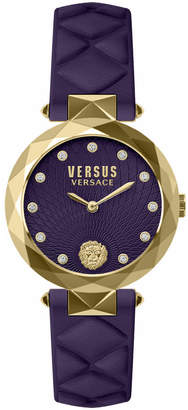 Versace 36mm IP Gold Watch with Violet Dial & Strap