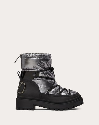 Valentino Trekkgirl Winter Boot In Technical Nylon And Waterproof Split Leather 40 Mm Women Black/ruthenium 100% Pelle Di Vitello - Bos Taurus 39