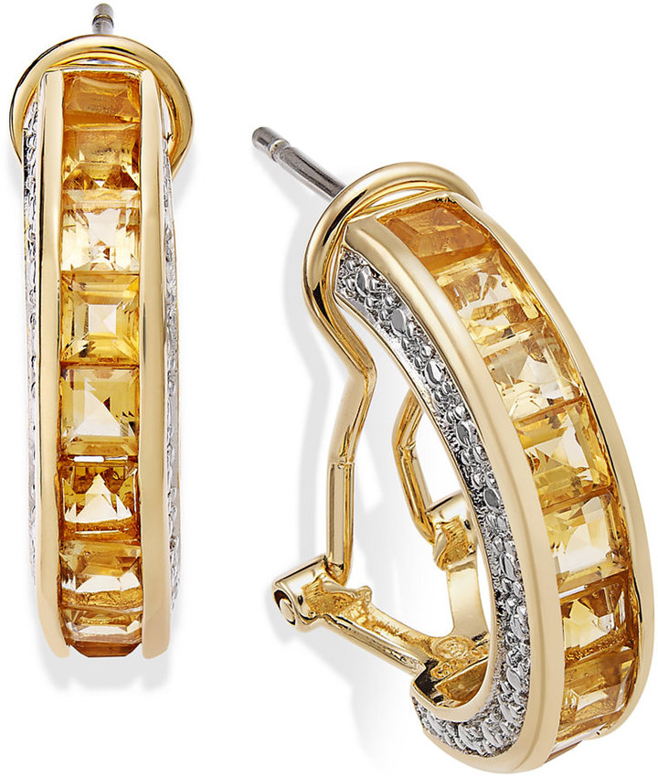 Townsend Victoria 18k Gold over Sterling Silver Citrine (2-3/4 ct. t.w.) and Diamond Accent J-Hoop Earrings