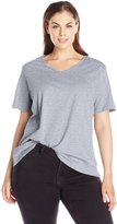 Fresh Women's Plus-Size Basic V-Neck Solid Tee