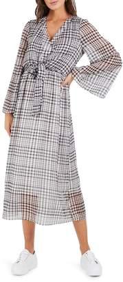 Cooper St Wild Heart Plaid Long Sleeve Midi Dress