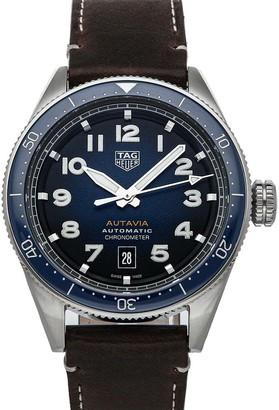 Tag Heuer Blue Stainless Steel Autavia WBE5116. FC8266 Men's Wristwatch 42 MM