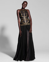 J. Mendel Beaded Plisse Halter Gown, Black