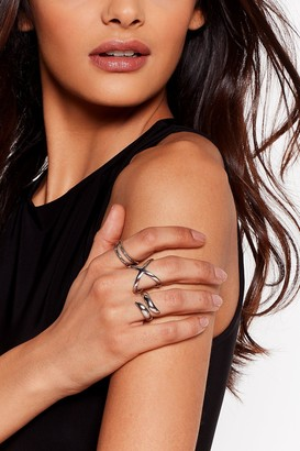 Nasty Gal Womens Lend a Helpin' Hand 3-Pc Ring Set - Grey - One Size