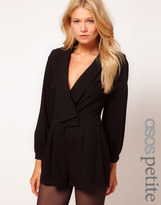 Asos Exclusive Playsuit With Deep V Neckline And Long Sleeves