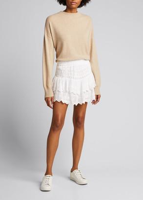 LoveShackFancy Emilia Cotton Pintuck Miniskirt