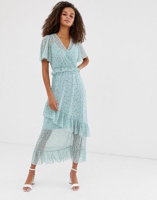New Look mesh frill dress in blue pattern