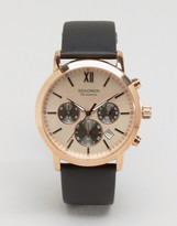 Sekonda Chronograph Brown Leather Watch With Gold Dial Exclusive To Asos
