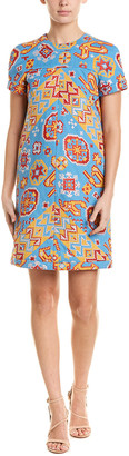 Valentino Geometric Silk-Lined Shift Dress