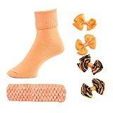 Head to Toe Girls Hair Bows, Headband, Socks (Orange Sherbet, 8-9 1/2)