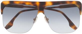 Victoria Beckham Tortoiseshell-Effect Oversized Sunglasses