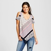 3Hearts Women's Printed Cold Shoulder Hanky Hem Top - 3Hearts (Juniors') Multicolor