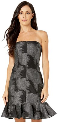 Halston Strapless Metallic Jacquard Dress (Black/Silver) Women's Dress