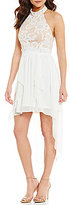 Jodi Kristopher Mock Neck Lace Bodice Open-Back Cascading Ruffle High-Low Dress