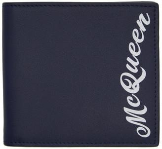Alexander McQueen Navy Logo Wallet