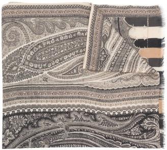 Etro Paisley-Print Frayed Scarf