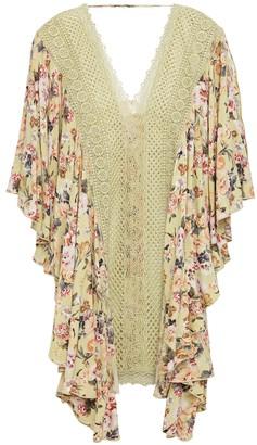 Charo Ruiz Ibiza Dalia Crocheted Lace-paneled Floral-print Voile Kaftan