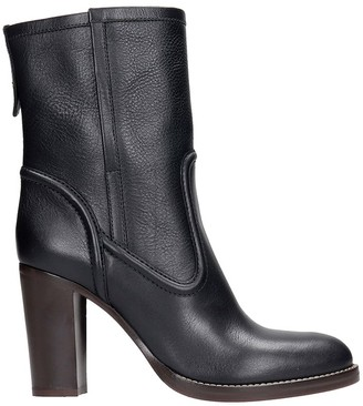 Chloé High Heels Ankle Boots In Black Leather