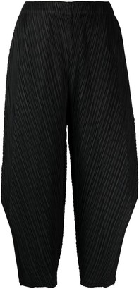 Pleats Please Issey Miyake Plisse-Effect Cropped Trousers