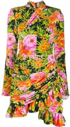 Richard Quinn Floral Print Jersey Mini Dress