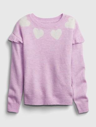 Gap Kids Heart Ruffle Crewneck Sweater