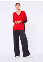 Amanda Wakeley Poppy Red & Black Oversize V-Neck Cashmere Jumper