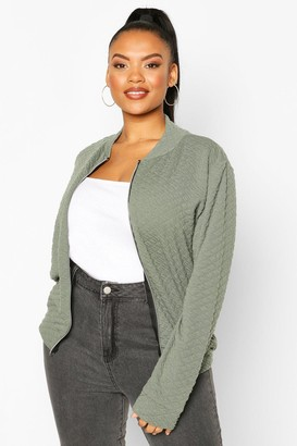 boohoo Plus Quilted Sweat Zip Through Bomber
