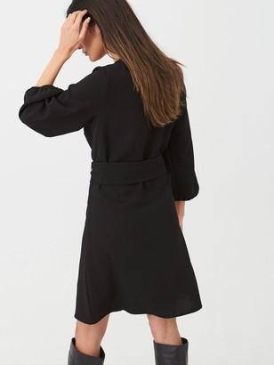 Wallis Crepe Buckle Belted Fit & Flare Dress - Black