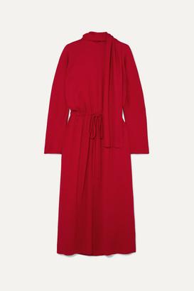 Valentino Tie-detailed Drawstring Crepe Dress - Red