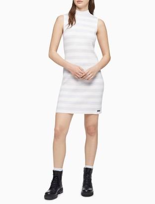 Calvin Klein Stripe Ribbed Sleeveless Dress