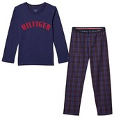 Tommy Hilfiger Navy Branded and Red Checked Pyjama Set