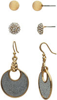 Boutique + The Gold-Tone Trio Earring Set