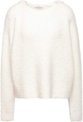 Vince Cotton-blend Boucle-knit Hooded Sweater