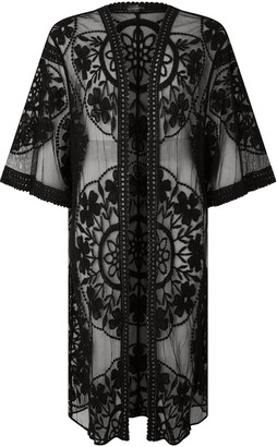 Accessorize Jaki Long Kimono - Black