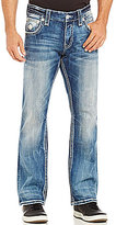 Rock Revival Tommya Fleur-de-Lis Embroidered Bootcut Distressed Denim Jeans