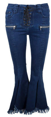 Jovonna London YoYo2 Lace-up Flare Hem Jeans