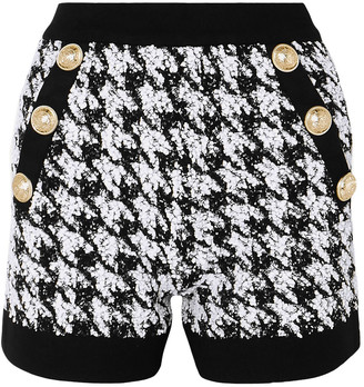 Balmain Button-embellished Houndstooth Boucle-tweed Shorts