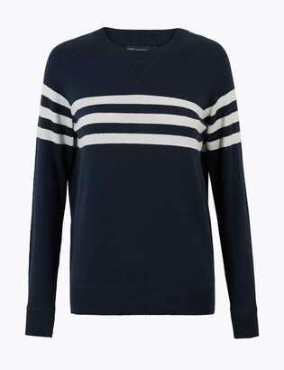 Marks and Spencer Cotton Striped Jumper with Cashmere