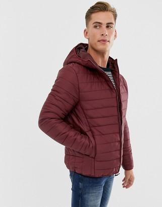 Threadbare hooded puffer jacket in burgundy
