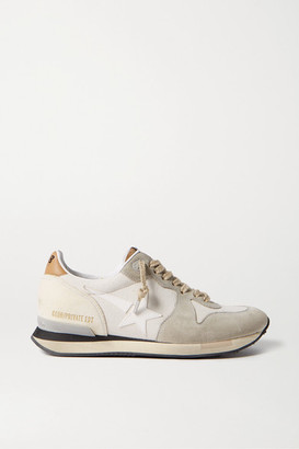 Golden Goose Running Canvas, Leather And Suede Sneakers - Neutral