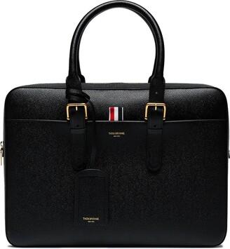 Thom Browne Business Bag in Black Pebble Grain