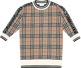 BURBERRY KIDS Checked merino wool dress