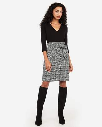 Express Jacquard Sash Tie Fit And Flare Dress